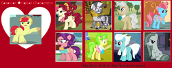 Size: 1280x507 | Tagged: safe, bright mac, cherry jubilee, chickadee, cup cake, fleetfoot, marble pie, mayor mare, ms. peachbottom, zecora, implied swinging