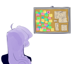 Size: 684x561 | Tagged: artist:j_kei, board, corkboard, equestria girls, female, implied lesbian, implied rarilight, implied shipping, implied twilight sparkle, lesbian, post-it, rarilight, rarity, safe, shipping