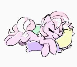 Size: 1280x1122 | Tagged: safe, artist:dawnfire, oc, oc:marshmallow fluff, pony, unicorn, sleeping, solo