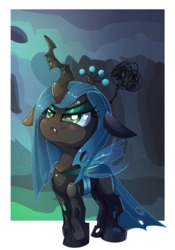 Size: 1403x2000 | Tagged: safe, artist:discorded, queen chrysalis, changeling, changeling queen, :t, cute, cutealis, female, filly, filly queen chrysalis, floppy ears, grumpy, hive, hmph, i'm not cute, scrunchy face, solo, weapons-grade cute, younger