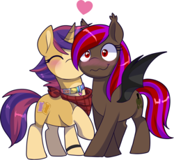 Size: 1855x1701 | Tagged: artist:xwhitedreamsx, bat pony, female, heart, kissing, mare, oc, oc only, pony, safe, simple background, transparent background, unicorn