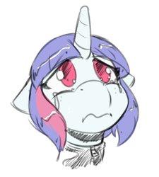 Size: 1083x1206   Tagged: safe, artist:helixjack, oc, oc only, oc:mew, pony, unicorn, bust, crying, female, horn, latex, latex suit, looking up, mare, sad, simple background, solo, unicorn oc, white background