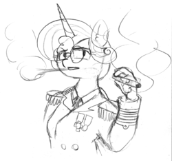 Size: 989x926 | Tagged: admiral, alicorn, anthro, artist:eow, cigar, clothes, eye clipping through hair, female, glasses, lineart, monochrome, older, princess flurry heart, safe, smoke, smoking, traditional art, uniform