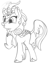 Size: 965x1260 | Tagged: artist:soctavia, autumn blaze, female, happy, hoof on chest, kirin, mare, safe, sketch, solo