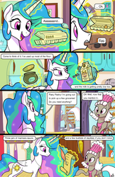 Size: 1989x3072 | Tagged: alicorn, artist:docwario, beans, book, butter, cake, cakelestia, cereal, cherry, clock, comic, comic:royal chores, cupcake, cute, cutelestia, daisy jo, diabetes, discord, egg (food), female, flour, food, glowing horn, horn, jam, jewelry, ketchup, magic, mare, milk, mustard, necklace, oc, oc:flaky pastry, offscreen character, olive, pear jam, pony, princess celestia, quill, recipe, refrigerator, safe, sauce, sugar (food), telekinesis, trixie, whip cream