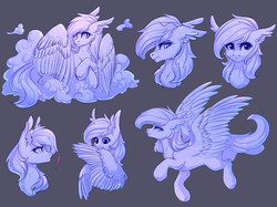 Size: 1024x764 | Tagged: artist:nightskrill, cloud, monochrome, oc, oc:coldfire, oc only, pegasus, pony, preening, safe, slit eyes, solo