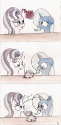 Size: 1502x3056 | Tagged: safe, artist:alexandrvirus, starlight glimmer, trixie, pony, unicorn, all bottled up, anger magic, angry, comic, cup, duo, female, food, glowing horn, horn, humor, magic, mare, tea, teacup, telekinesis, that pony sure does love teacups
