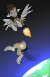 Size: 544x837 | Tagged: artist:fenixdust, butt engines, derp, half, modular, oc, oc:skittle, pegasus, pony, rocket engine, rocket pony, safe, socks (coat marking), solo, space, wat