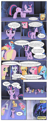 Size: 612x1553 | Tagged: safe, artist:newbiespud, edit, edited screencap, screencap, applejack, fluttershy, nightmare moon, pinkie pie, rainbow dash, rarity, twilight sparkle, alicorn, earth pony, pegasus, pony, unicorn, comic:friendship is dragons, friendship is magic, castle of the royal pony sisters, comic, dialogue, ethereal mane, exclamation point, eyes closed, female, helmet, hoof shoes, interrobang, mane six, mare, question mark, screencap comic, shocked, starry mane, unicorn twilight