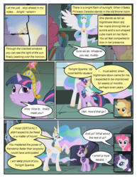 Size: 612x792 | Tagged: safe, artist:newbiespud, edit, edited screencap, screencap, applejack, fluttershy, pinkie pie, princess celestia, rainbow dash, rarity, twilight sparkle, alicorn, earth pony, pegasus, pony, unicorn, comic:friendship is dragons, friendship is magic, big crown thingy, castle of the royal pony sisters, comic, dialogue, female, jewelry, mane six, mare, peytral, regalia, screencap comic, spread wings, unicorn twilight, wings