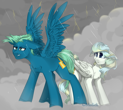 Size: 3000x2677 | Tagged: absurd res, artist:mediasmile666, chest fluff, cloud, crying, cutie mark, duo, female, floppy ears, lightning, male, mare, pegasus, pony, protecting, rain, safe, sidemouth, sky stinger, spread wings, stallion, storm, vapor trail, wings