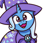 Size: 1000x1000 | Tagged: artist:sugar morning, bust, cape, cat face, cat smile, clothes, cute, diatrixes, female, hat, looking at you, mare, open mouth, pony, safe, simple background, smiling, solo, sugar morning's smiling ponies, transparent background, trixie, trixie's cape, trixie's hat, unicorn, white background