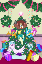 Size: 1179x1800 | Tagged: artist:nanook123, christmas, christmas presents, christmas tree, cover, gallus, hearth's warming, hearth's warming eve, heartwarming, holiday, idw, ocellus, safe, sandbar, silverstream, smolder, spoiler:comic, spoiler:comicholiday2019, student six, tree, wreath, yona