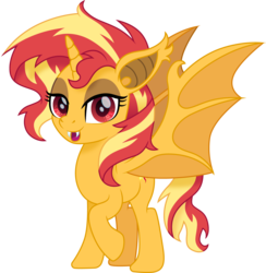 Size: 1500x1535 | Tagged: alicorn, alicornified, artist:cloudyglow, bat ponified, bat pony, bat pony alicorn, fangs, female, mare, pony, race swap, safe, shimmercorn, simple background, slit eyes, smiling, solo, sunset shimmer, transparent background, vector