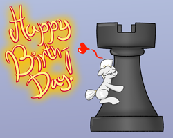 Size: 1280x1024 | Tagged: artist:heir-of-rick, chess piece, happy birthday, heart, micro, oc, oc only, pony, rook, safe, simple background, solo, text
