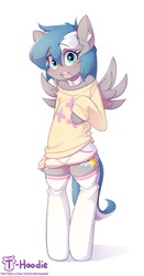 Size: 731x1400 | Tagged: artist:hoodie, bipedal, clothes, oc, oc only, oc:summer memory, safe, semi-anthro, shorts, socks, solo, stockings, sweater, thigh highs, wings