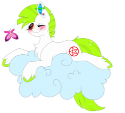 Size: 1065x968 | Tagged: artist:melodytheartpony, butterfly, cloud, cute, earth pony, female, fluffy, oc, one eye closed, piercing, pony, safe, wink