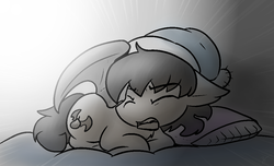 Size: 1018x620 | Tagged: artist:zutcha, bat pony, pillow, safe, sleepy, solo