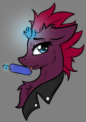 Size: 1624x2292 | Tagged: safe, artist:arjinmoon, tempest shadow, pony, unicorn, broken horn, bust, chest fluff, clothes, female, food, gray background, horn, ice cream, licking, magic, mare, popsicle, portrait, simple background, solo, telekinesis, tongue out