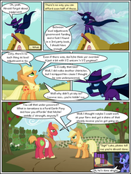 Size: 600x800 | Tagged: apple, applebuck season, artist:newbiespud, bandage, big macintosh, building, cape, clothes, collaboration, comic, comic:friendship is dragons, dialogue, earth pony, edit, edited screencap, female, food, freckles, glow, hat, looking up, male, mare, mare do well, owl, owlowiscious, pony, safe, screencap, stallion, straw in mouth, the mysterious mare do well, tree, twilight sparkle, unicorn, unicorn twilight, unshorn fetlocks, yoke