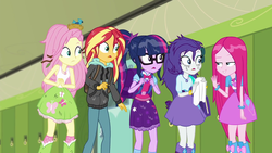 Size: 1280x720 | Tagged: boots, canterlot high, clothes, eqg summertime shorts, equestria girls, fluttershy, geode of fauna, geode of sugar bombs, geode of telekinesis, glasses, lockers, magical geodes, monday blues, pinkamena diane pie, pinkie pie, pinkie sad, ponytail, rarity, safe, sci-twi, screencap, shocked, shoes, skirt, socks, sunset shimmer, twilight sparkle, wet hair