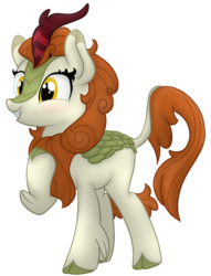 Size: 965x1260 | Tagged: alternate version, artist:soctavia, autumn blaze, background removed, blushing, cloven hooves, female, happy, hoof on chest, kirin, leonine tail, mare, safe, signature, simple background, solo, transparent background