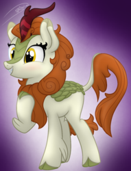 Size: 965x1260 | Tagged: artist:soctavia, autumn blaze, blushing, cloven hooves, female, gradient background, happy, hoof on chest, kirin, leonine tail, mare, safe, signature, solo