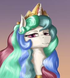 Size: 1245x1378 | Tagged: :3, alicorn, artist:dukevonkessel, bust, crown, female, jewelry, looking at you, mare, portrait, princess celestia, regalia, safe, smiling, solo