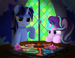 Size: 3235x2500 | Tagged: artist:spellboundcanvas, board game, dice, dragon pit, duo, magic, oc, oc:dynamo pad, pony, safe, stained glass, stained glass window, starlight glimmer, unicorn