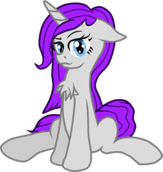 Size: 812x855 | Tagged: artist:zeka10000, chest fluff, female, floppy ears, looking at you, oc, oc:cinema gray, oc only, requested art, safe, simple background, sitting, transparent background, unicorn, vector