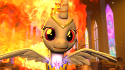Size: 1920x1080 | Tagged: 3d, artist:twilighlot, canterlot, fire, safe, solarflareseries, source filmmaker, sunrise sparkle, war