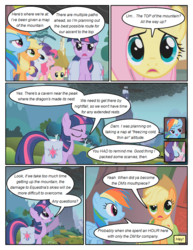 Size: 612x792 | Tagged: safe, artist:newbiespud, edit, edited screencap, screencap, applejack, fluttershy, pinkie pie, rainbow dash, rarity, twilight sparkle, earth pony, pegasus, pony, unicorn, comic:friendship is dragons, dragonshy, clothes, comic, dialogue, eyes closed, female, freckles, hat, mane six, mare, mountain, mouth hold, saddle bag, scarf, screencap comic, smoke, unicorn twilight