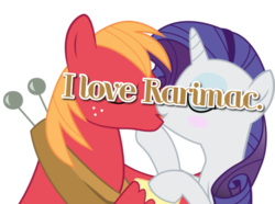 Size: 500x371 | Tagged: artist:joemasterpencil, big macintosh, female, kissing, male, mlpshippingconfessions, rarimac, rarity, safe, shipping, straight