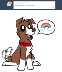 Size: 800x933 | Tagged: artist:askwinonadog, ask, ask winona, dog, pictogram, rainbow, safe, sitting, solo, tail wag, tumblr, winona