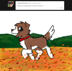 Size: 800x798 | Tagged: artist:askwinonadog, ask, ask winona, autumn, dog, leaves, safe, solo, tumblr, winona