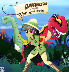 Size: 2000x2072 | Tagged: artist:theretroart88, clothes, cover, daring do, dinosaur, equestria girls, hat, human, prehistoric, safe, scenery, whip