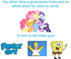 Size: 1440x1200 | Tagged: applejack, end of ponies, family guy, fluttershy, homer simpson, mane six, meme, op has a point, op is a duck, op is trying to start shit, op is trying to start shit so badly that it's kinda funny, pinkie pie, rainbow dash, rarity, safe, spongebob squarepants, the simpsons, twilight sparkle