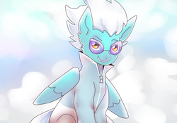 Size: 1789x1255 | Tagged: artist:starmischief, clothes, cloud, female, fleetfoot, mare, pegasus, pony, safe, solo, sunglasses, wings