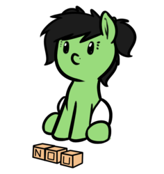 Size: 699x741 | Tagged: artist:neuro, baby, baby pony, beady eyes, blocks, diaper, earth pony, female, filly, no u, oc, oc:filly anon, oc only, pigtails, pony, safe, simple background, sitting, solo, transparent background
