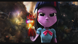 Size: 1920x1080 | Tagged: 3d, and i am iron man, artist:explorerpony3, avengers, avengers: endgame, bleeding, blood, equestria girls, infinity gauntlet, infinity stones, nano gauntlet, safe, solo, source filmmaker, spoilers for another series, tony stark dies, twilight sparkle