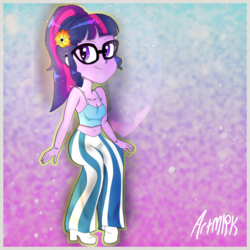 Size: 1536x1536 | Tagged: aesthetics, artist:artmlpk, belly button, blue underwear, boots, bra, camisole, clothes, crop top bra, cute, equestria girls, female, flower, safe, sci-twi, shoes, solo, twiabetes, twilight sparkle, underwear
