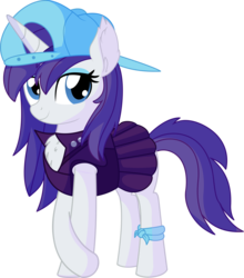 Size: 6134x6978 | Tagged: absurd res, alternate hairstyle, artist:cyanlightning, backwards ballcap, baseball cap, cap, chest fluff, disguise, ear fluff, female, hat, looking at you, mare, plainity, pony, punk, raripunk, rarity, safe, simple background, solo, .svg available, transparent background, unicorn, vector