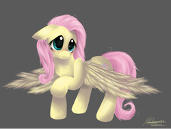 Size: 661x501 | Tagged: artist:cattoy10, artist:sirskipper, blushing, cute, cutie mark, female, floppy ears, fluttershy, gray background, mare, pegasus, pony, raised hoof, safe, shyabetes, simple background, solo, spread wings, wings