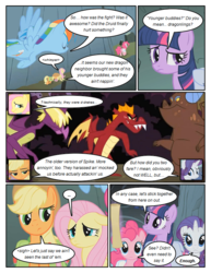 Size: 612x792 | Tagged: ..., applejack, artist:newbiespud, clump, comic, comic:friendship is dragons, dialogue, dragon, earth pony, female, fluttershy, flying, fume, garble, male, mane six, mare, pegasus, pinkie pie, pony, rainbow dash, rarity, safe, spear (dragon), twilight sparkle, unicorn, unicorn twilight