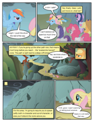 Size: 612x792 | Tagged: ..., annoyed, applejack, artist:newbiespud, comic, comic:friendship is dragons, dialogue, earth pony, edit, edited screencap, female, fluttershy, freckles, hat, mane six, mare, mountain, pegasus, pinkie pie, pony, rainbow dash, rarity, saddle bag, safe, screencap, smoke, tree, twilight sparkle, unicorn
