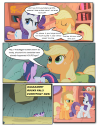 Size: 612x792 | Tagged: artist:newbiespud, boulder, comic, comic:friendship is dragons, dialogue, earth pony, edit, edited screencap, female, freckles, golden oaks library, hat, looking up, mare, pony, saddle bag, safe, screencap, twilight sparkle, unamused, unicorn, unicorn twilight
