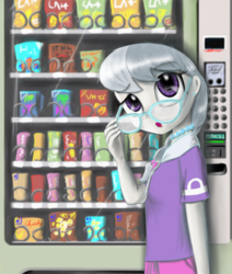 Size: 1850x2179 | Tagged: artist:chopsticks, clothes, cute, equestria girls, eyebrows visible through hair, female, food, glasses, human, jewelry, looking at you, necklace, open mouth, pearl necklace, safe, silverbetes, silver spoon, vending machine