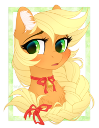 Size: 1820x2340 | Tagged: applejack, artist:vird-gi, bell, bell collar, bow, chest fluff, collar, cute, ear fluff, female, jackabetes, mare, neck bow, pony, safe, solo