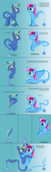 Size: 4096x13824 | Tagged: safe, artist:parclytaxel, oc, oc only, oc:nova spark, oc:parcly taxel, alicorn, genie, genie pony, monster pony, original species, pony, tatzlpony, unicorn, ain't never had friends like us, albumin flask, .svg available, absurd resolution, alicorn oc, art trade, blushing, comic, eyes closed, fangs, female, geniefied, glasses, gradient background, horn, horn ring, hug, magic, mare, massage, monster mare, raised hoof, rubbing, shaking, smiling, spread wings, vector, wings