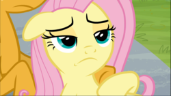 Size: 1670x939 | Tagged: 2 4 6 greaaat, close-up, cropped, floppy ears, fluttershy, lidded eyes, lying down, offscreen character, safe, screencap, solo focus, spoiler:s09e15